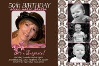 Brown Damask 50th Birthday Invitation
