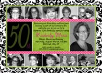 Damask 50th Birthday Invitation