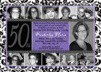 Purple Damask 50th Birthday Invitation