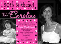 Hot Pink & Black Polka dot 50th Birthday Invitation