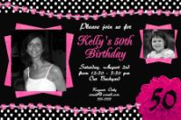 Hot Pink & Black Jewel 50th Birthday Invitation
