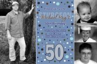 Men's Blue Polka dot 50th Birthday Invitation