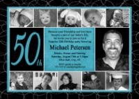 Masculine Turquoise Black 50th Birthday Invitation