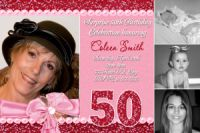 Pink & Red Glitter 50th Birthday Invitation