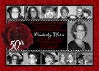 Red Rose 50th Birthday Invitation