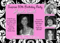 Pink Swirl 50th Birthday Invitation