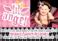 Lil' Angel First Birthday Party Invitations with Photo