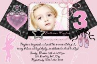 Pink Black Ballerina Birthday Invitations