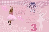 Pretty in Pink Ballerina Birthday Invitations