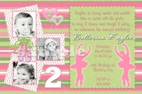 Pink Lime Ballerina Ballet Birthday Invitations