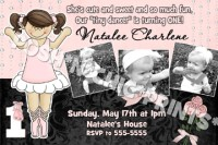 Damask Ballerina Ballet Birthday Invitations