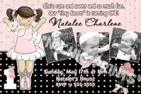 Polka Dot Ballerina Ballet Birthday Invitations