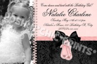 Ballet Shoes Satin Bow Birthday Invitations