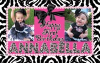 Zebra Hot Pink 1st Birthday Banner