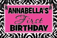 Zebra Hot Pink First Birthday Banner
