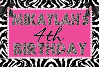 Zebra & Hot Pink Birthday Banner
