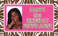 Brown Zebra & Hot Pink Birthday Banner