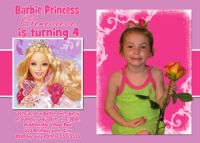 Hot Pink Purple Barbie Birthday Invitations