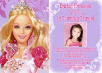 Purple Barbie Birthday Invitations Square Photo