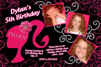 Barbie Silhouette Hot Pink Black Birthday Invitation with Glitter Pearls