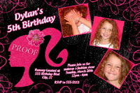 Barbie Head Silhouette Birthday Invitation with Glitter