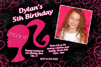 Barbie Silhouette Head Hot Pink Birthday Invitation