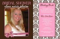 Brown & Pink Damask Bridal Shower Invitation