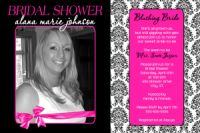 Black & Pink Damask Bridal Shower Invitation
