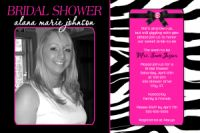 Zebra Print Hot Pink Bridal Shower Invitation