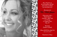 Red Black White Floral Bridal Shower Invitation