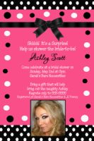 Hot Pink Black White Polka dot Bridal Shower Invitation