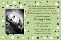 Lime & Chocolate Brown Polka dot Bridal Shower Invitation