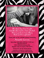Zebra & Hot Pink Vertical Bridal Shower Invitation