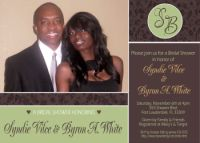 Sage Green & Brown Monogram Bridal Shower Invitation