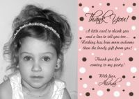 Pink White Chocolate Polka Dot Princess Thank You Card