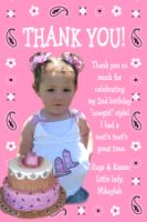 Cowgirl Pink Paisley Thank You Card