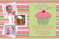 Pink Green Cupcake Thank You Card