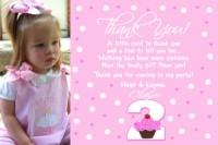 Pink White Polka Dot Cupcake Thank You Card