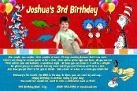 Dr Seuss Primary Color Birthday Invitation