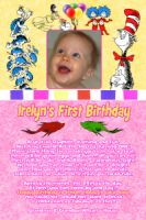 Dr Seuss Girl's First Birthday Invitation (can be used for any age)