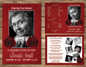 Red Rose Funeral Program Memorial Service Celebration of Life