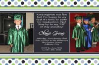 Lime Green Blue Graduation Card Invitation