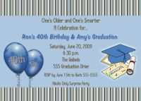 Chocolate Brown Blue Stripes Graduation Card Invitation