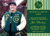 High School Monogram Graduation Card Invitation