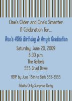 Brown Blue Graduation Card Invitation