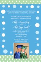 Green Blue Preschool Graduation Card Invitation