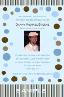 Chocolate Brown Blue Polka Dot High School Graduation Card Invitation