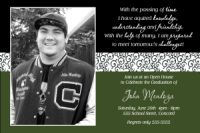 Pine Green Black Scroll Graduation Photo Invitation