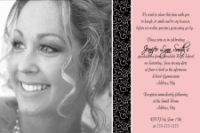 Pink Black Scroll High School Graduation Invitation Card