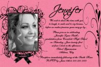 Hot Pink Black Swirl Graduation Invitation Card